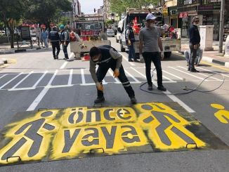 road lines and traffic markers are renewed in manisa