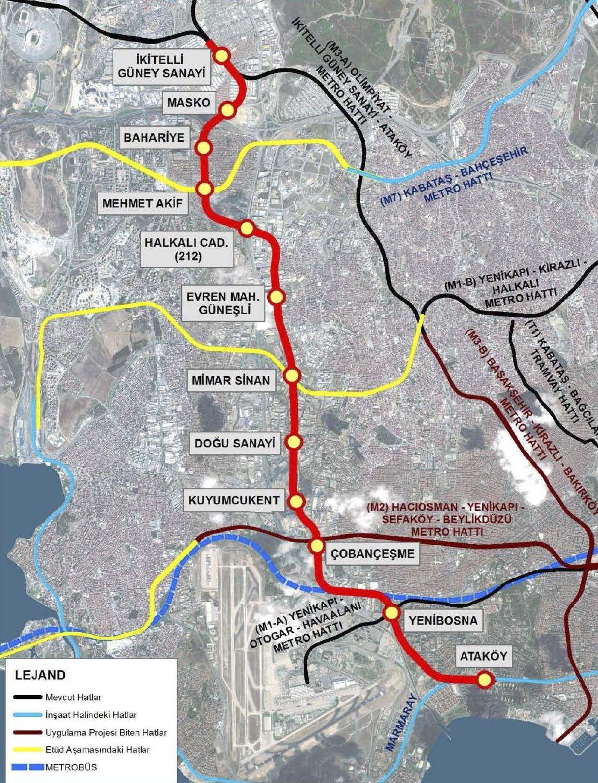 Ataköy İkitelli Metro Route Map