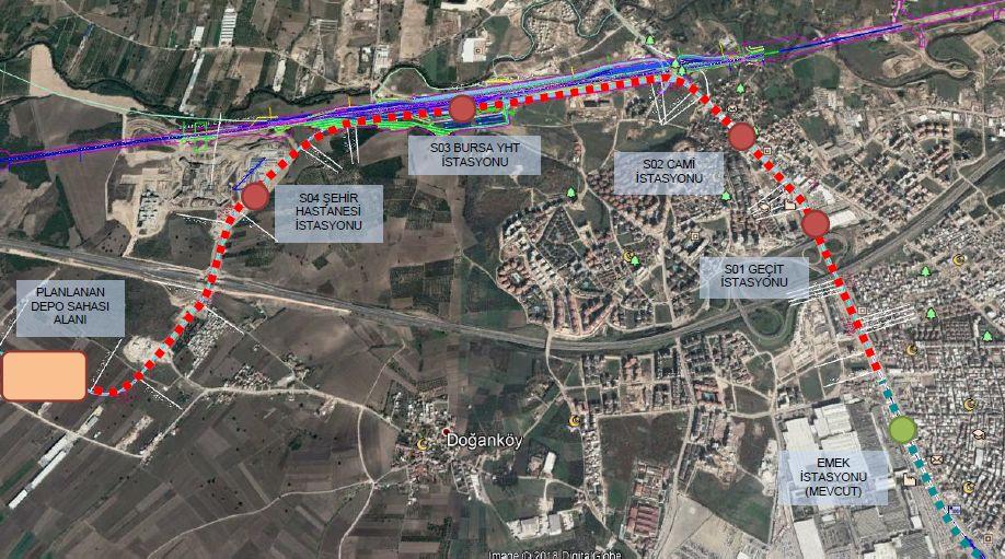 Χάρτης του μετρό Bursa City Hospital