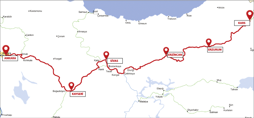 Eastern express route map