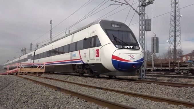 background of the high speed train line sivas ankara