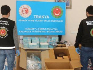 Mii de tone de măști și viziere au fost capturate în Izmir pentru a produce tone de alcool etilic.
