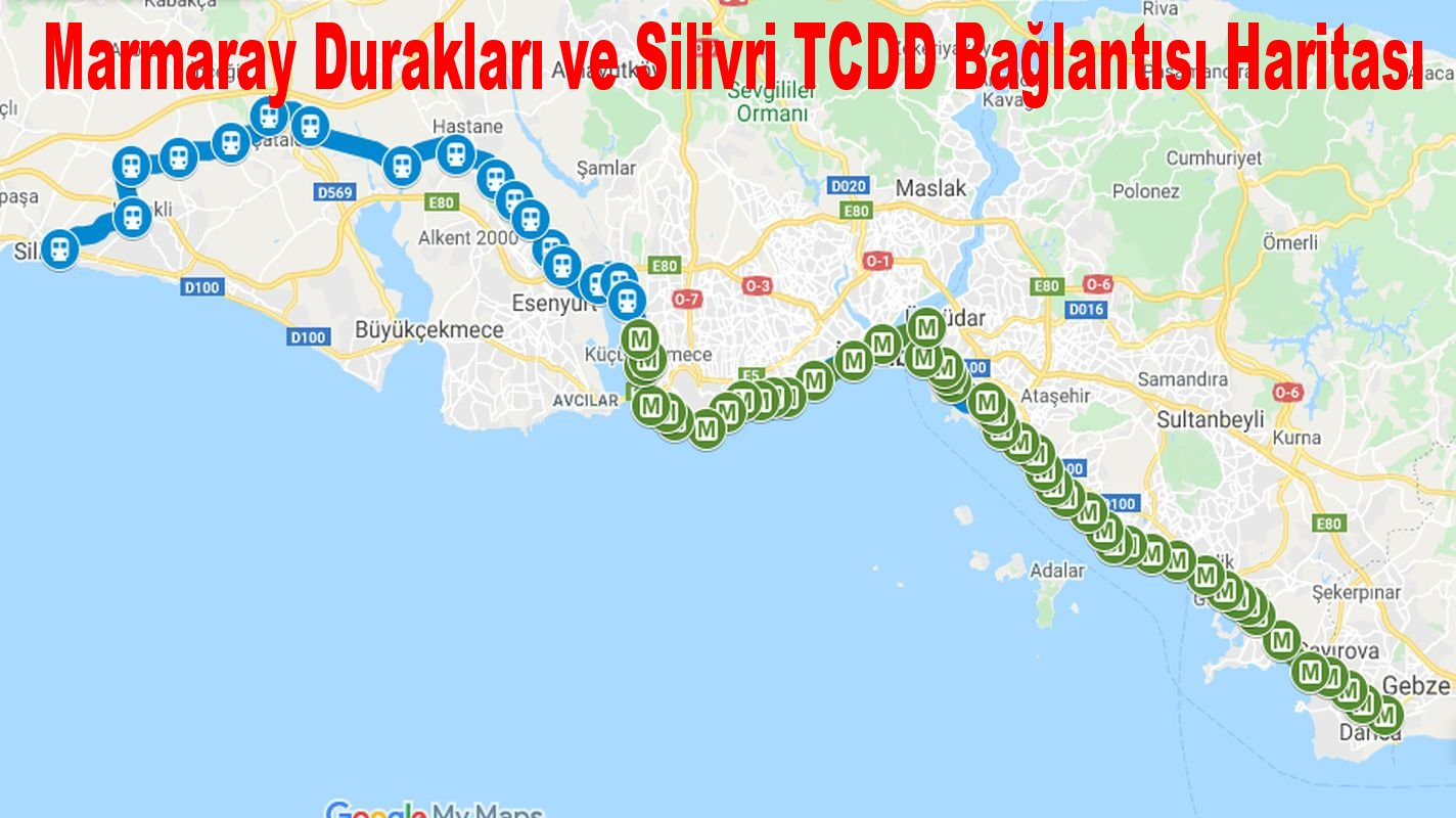 marmaray stops and silivri tcdd connection map