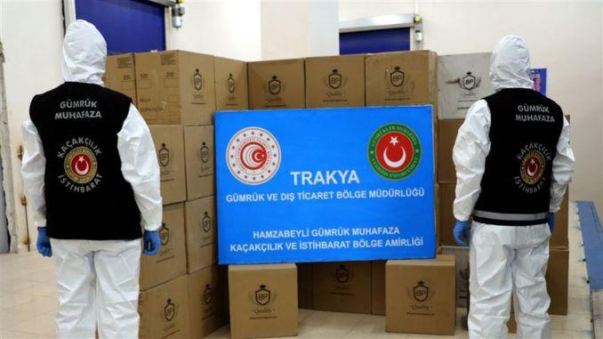 Em um desenvolvimento que entrou na Turquia em milhões de mangas e cigarros foram apreendidos filtro