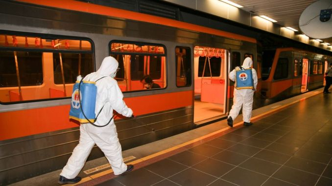 disinfected in subways and stations on the island