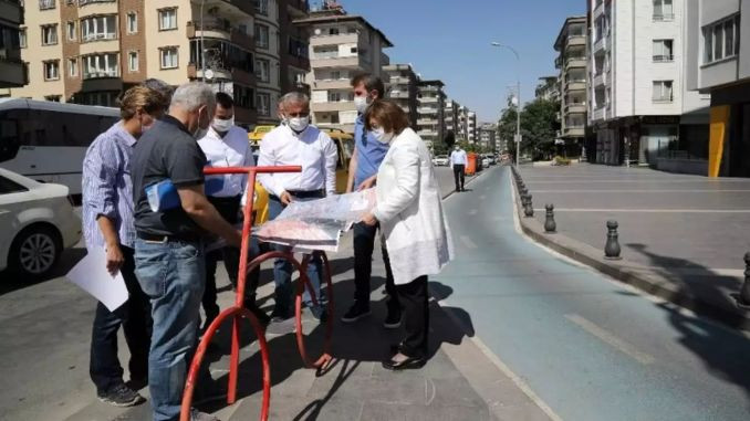 button was pressed for the kilometer cycle road project in gaziantep