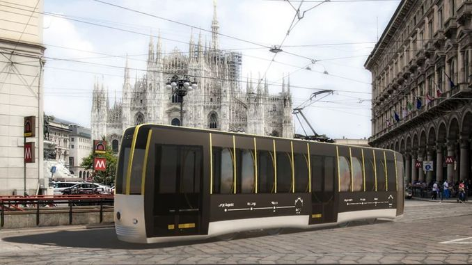 social distance tram was designed in Italy