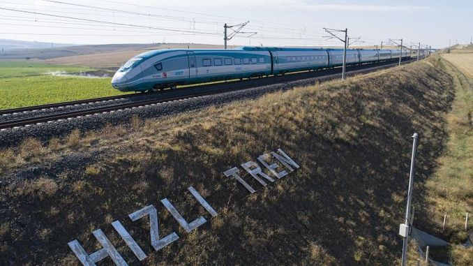 citizen riding on fast train from Sivas to public