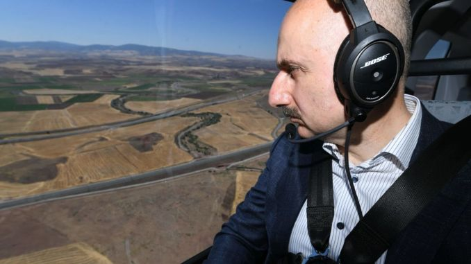 minister from karaismailoglu examined the ankara sivas yht project from the air