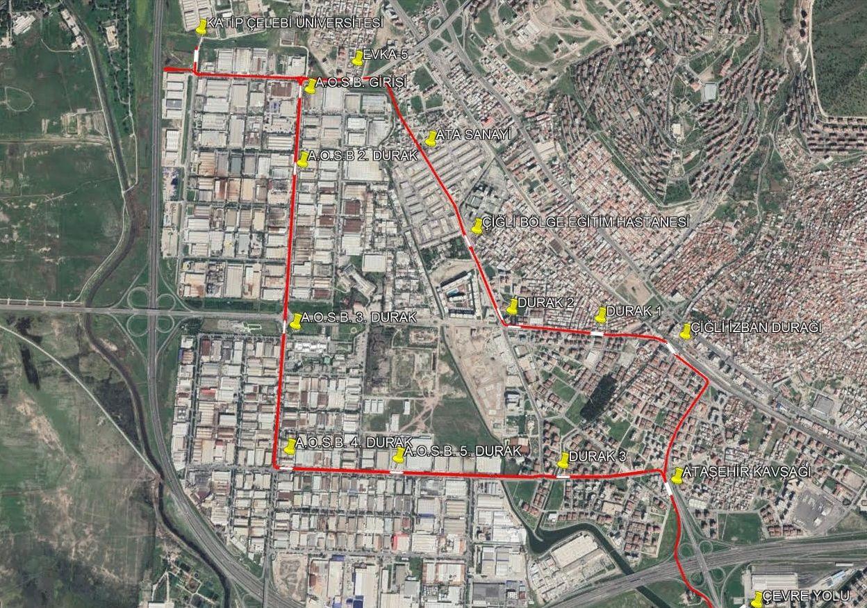 cigli tram nga ruta ug mga estasyon