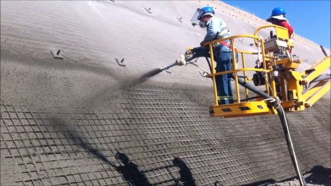 Spraying concrete in bridges and culverts as a result of the tender
