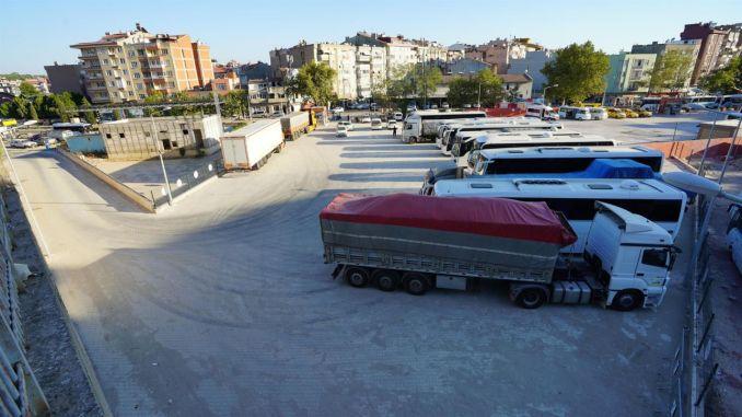 A tir park was built inside the erdek bus station