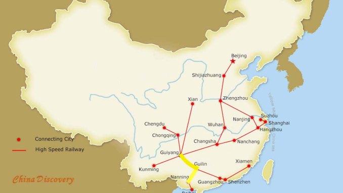 Guiyang vysokorýchlostná železničná mapa