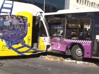 Tram collided with public bus in Istanbul