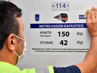 Etiketter for passagerkapacitet placeres på offentlige transportkøretøjer i Ankara