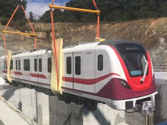 Gayrettepe Istanbul Airport Metro First Train Landed on the Rails