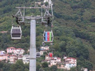Турски и азербайджански знамена, окачени на кабинките на кабинковия лифт в Орду