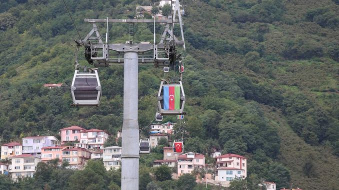 Turkish and Azerbaijan Flags Hanged on the Cable Car Cabins in Ordu