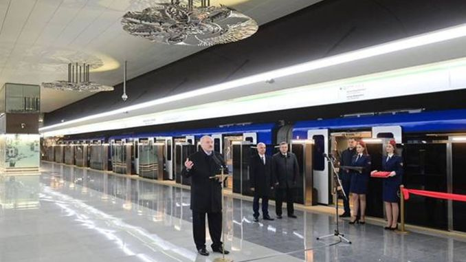 The newly built station of the belarus minsk subway opens