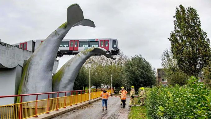 Derailed Metro Whale Tail Sculpture in Holland