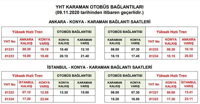 Konya Karaman Busfahrplan mit YHT-Verbindung