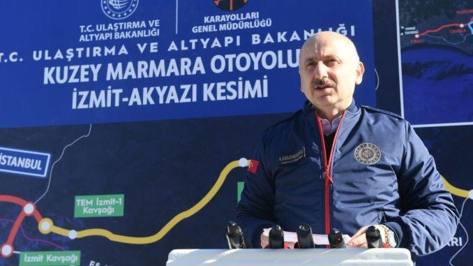 Het snelwegproject van noord-marmara zal het transport van de regio Marmara vergemakkelijken