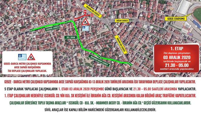 temporary route application within the scope of subway work in gebze darica