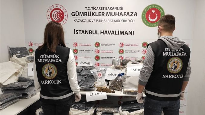 Drugs worth a million TL were seized at Istanbul airport
