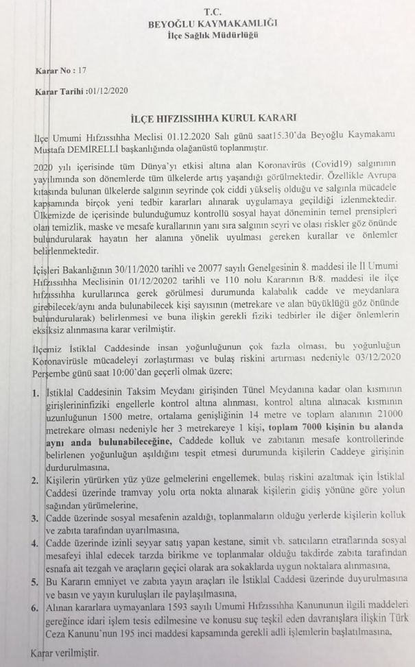 Person limit application will be implemented for Istiklal Street