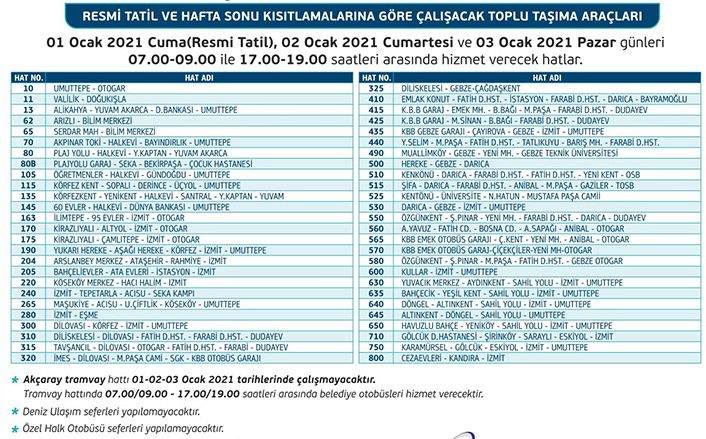 Do Akcaray and buses work in Kocaeli during the day?