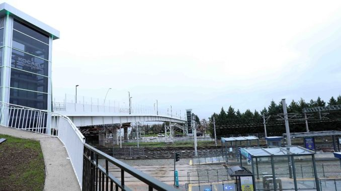 science center tram station overpass in seka park opened
