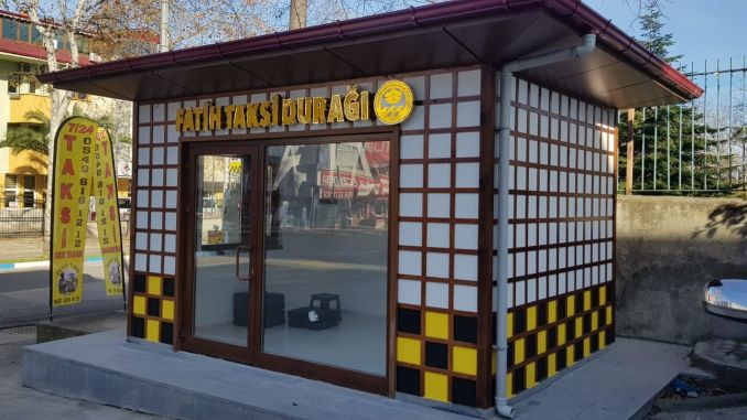 Modern taxi station works in trabzon do not slow down