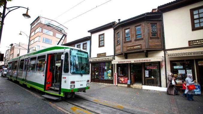 republic street nostalgic tram started to work in bursa