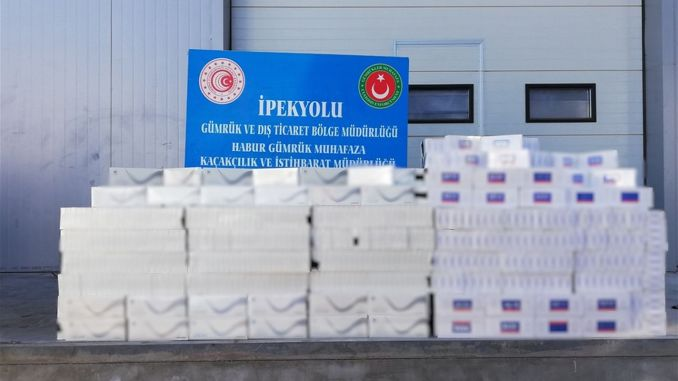 A thousand packs of cigarettes were seized at the habur gumruk door