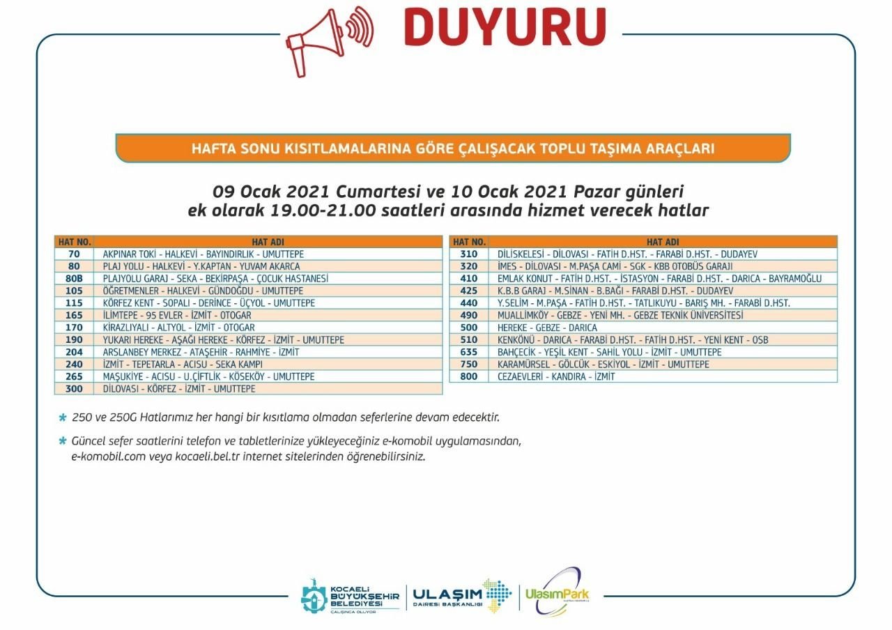 Bus lines to operate in Kocaeli with a street exit ban