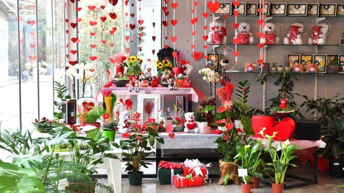 Das anfängliche Pflanzenhaus ist bereit für den Valentinstag im Februar