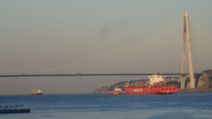 The number of ships passing through the Bosphorus decreased