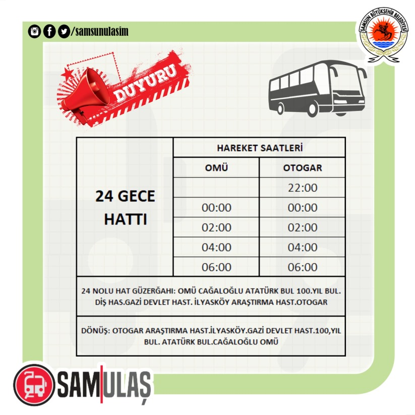 february week bus hours in sams
