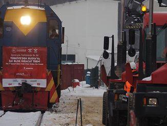 turkiyeden rusyaya beyaz esya tasiyan ilk ihracat treni moskovada
