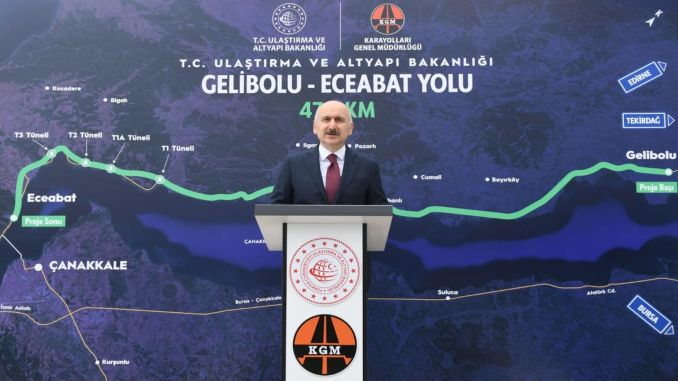 The kilometer part of the Gallipoli Eceabat divided road construction has been completed