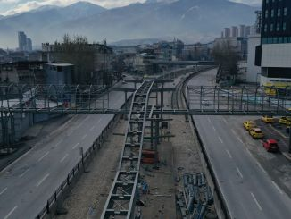 Works on the Bursa t tram line continue day and night