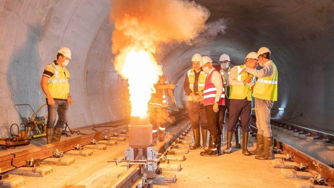 First rail welding on sabiha gokcen airport metro line will be made tomorrow