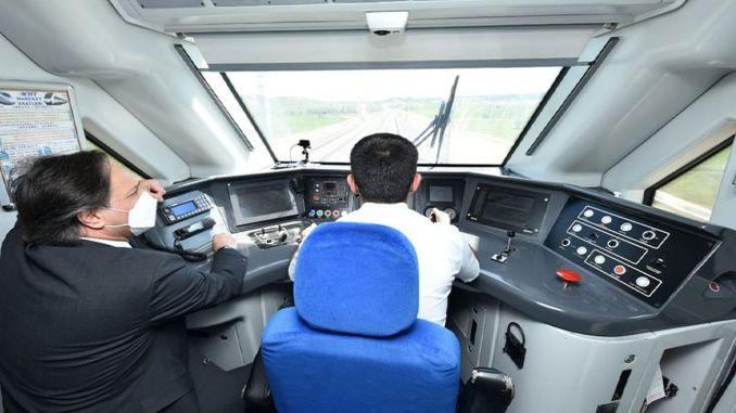 Ankara sivas yht test drive, the train reached km h