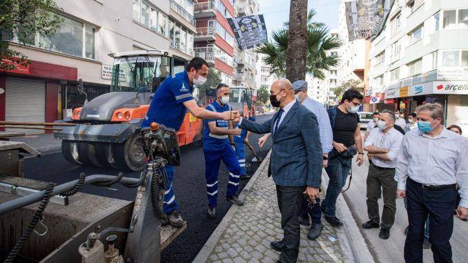 Präsident Soyer untersuchte die Asphaltarbeiten am Talatpasa Boulevard