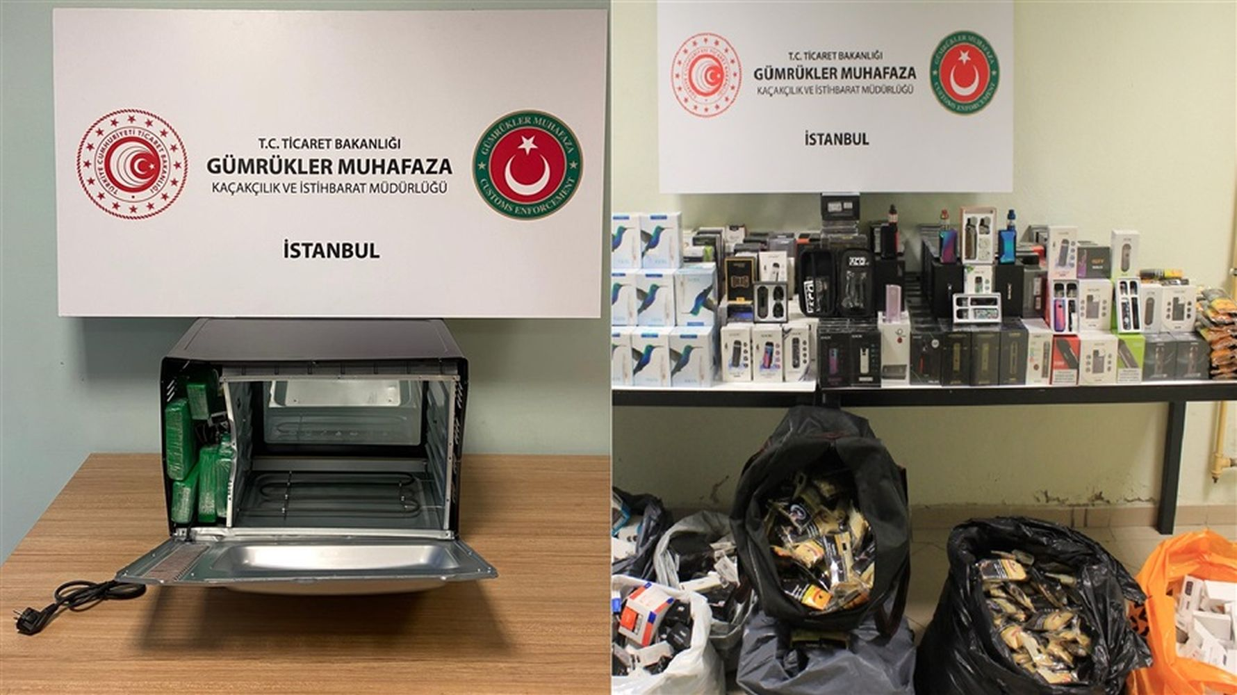 An electronic cigarette caught in a drug warehouse in the microwave oven in Istanbul