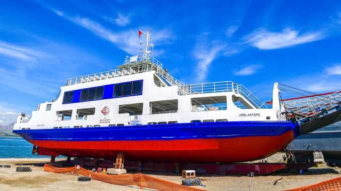 Ferries at Malatya Atabey Pier are taken into maintenance