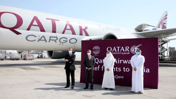 qatar airways cargo carrying medical aid package to india