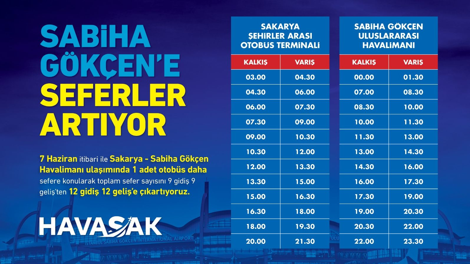HAVASAK Timetable