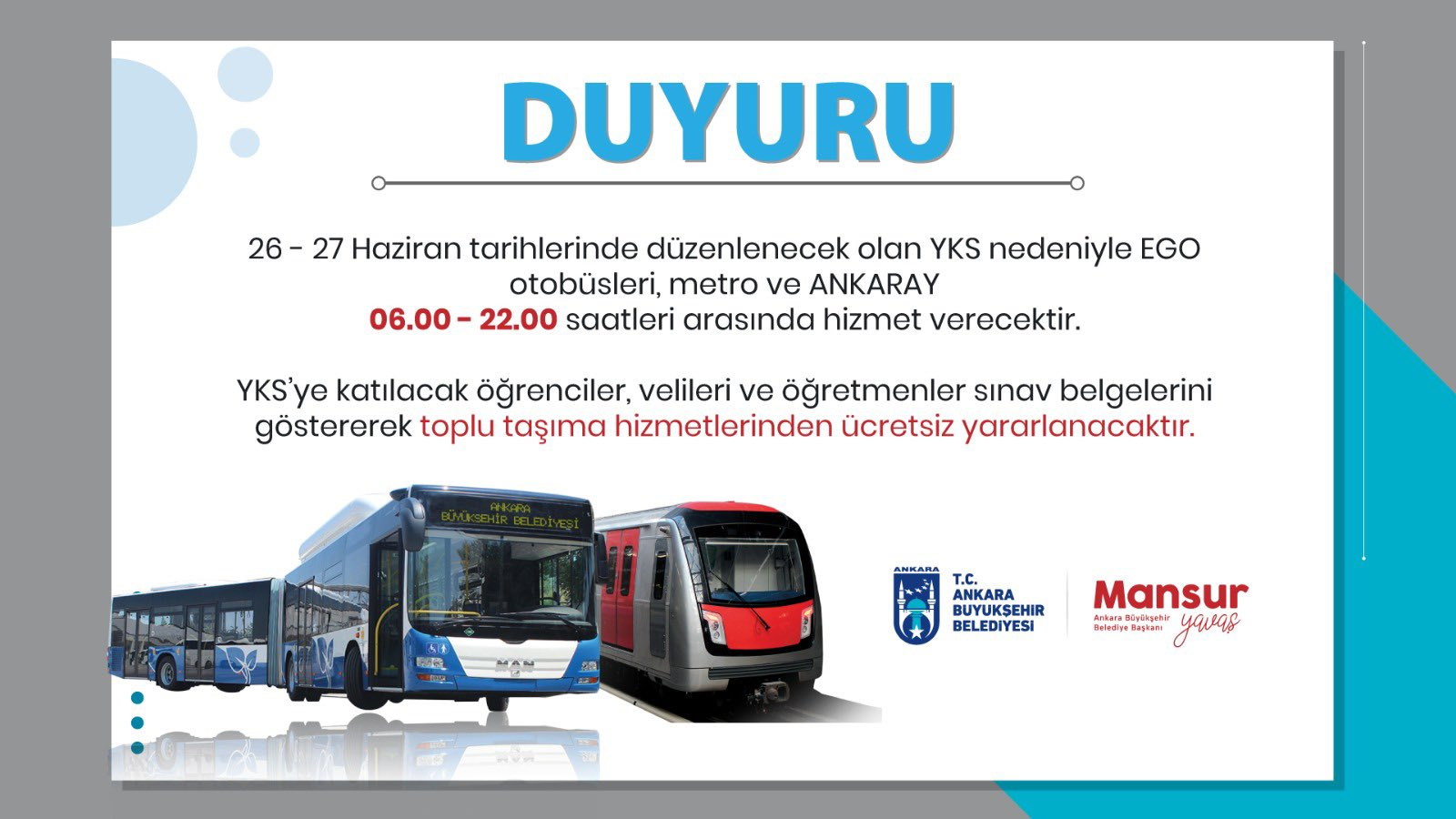 Transportation is free for students who will take the high exam in the capital.