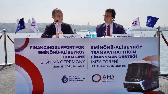 ibb eminonu gaus milijono eurų finansavimo paramą alibeykoy tramvajaus linijai